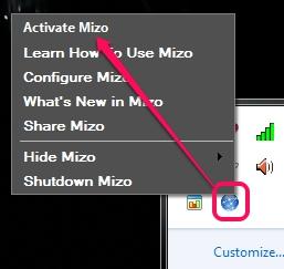 Mizo- tray icon