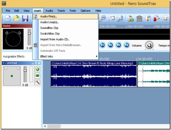 Nero SoundTrax - importing audio files