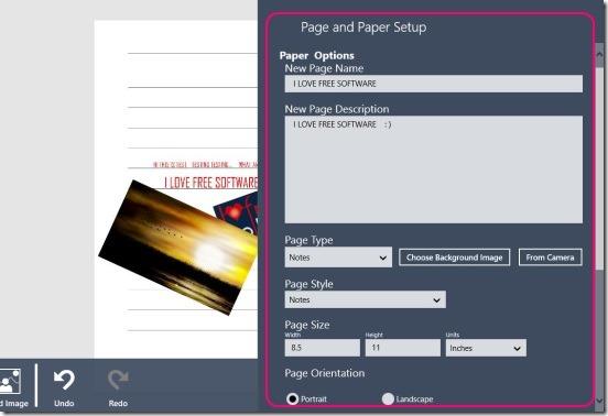 Notebook Pro - chaging page setup