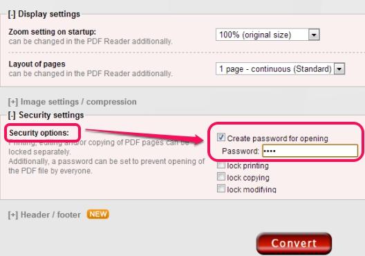 Online2PDF- adjust settings