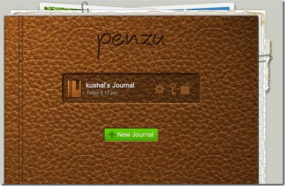 Penzu-online diary-interface