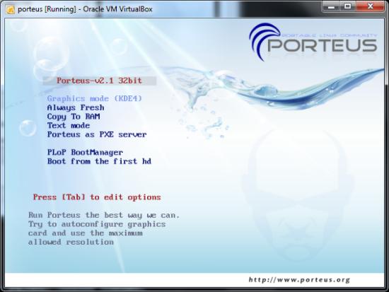 Portable Linux distro - Porteus - Startup