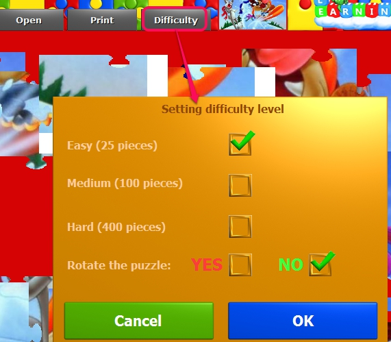 Puzzles For Kids- set difficulty level