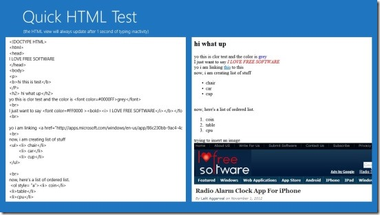 Quick HTML Test - wrting HTML codes and viewing output