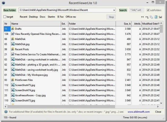Recent Viewer Lite - recently opened files and folders