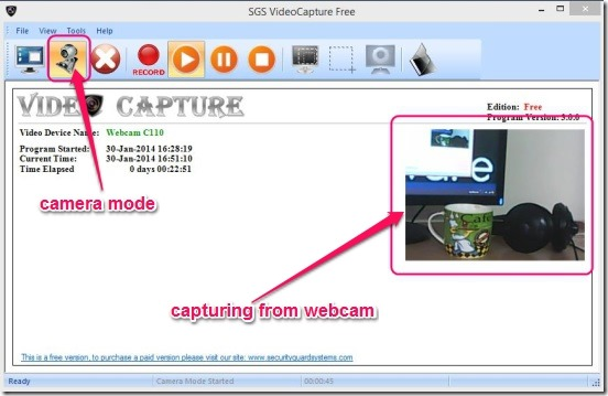 SGS VideoCapture Free - capturing from webcam