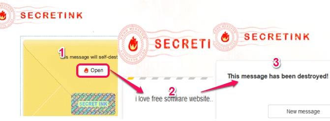 SecretInk- self destructing message