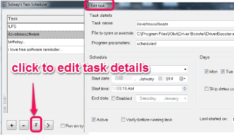 Solway's Task Scheduler- modify a task