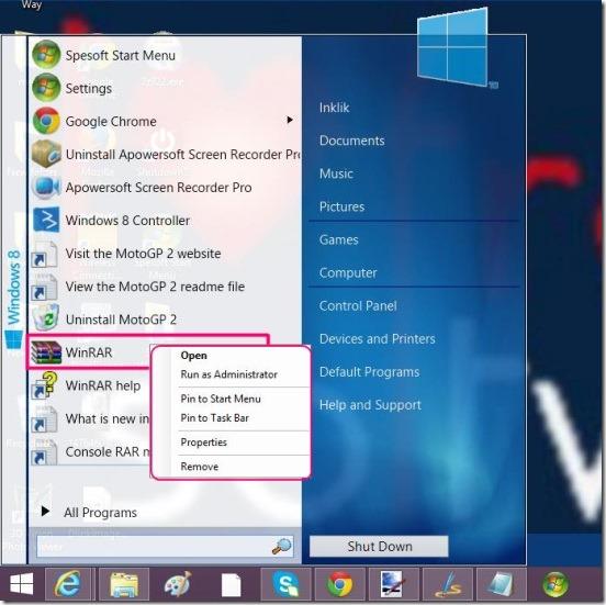 Spesoft Windows 8 start menu - pinning an option of the menu to taskbar