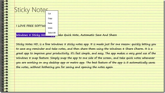 Sticky Notes HD - basic text formatting options