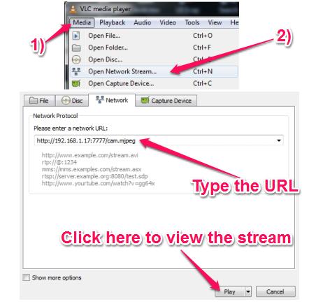 Stream Webcam Video Over the Network - IpstreamWebCam - Setting up VLC to play streamed video