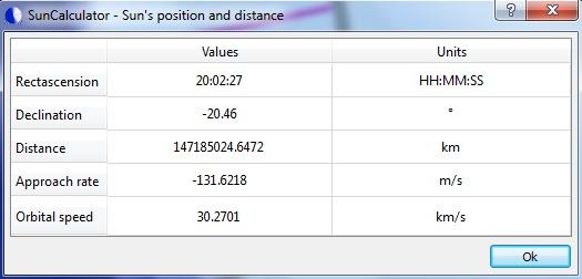 SunCalculator- sun's position and distance