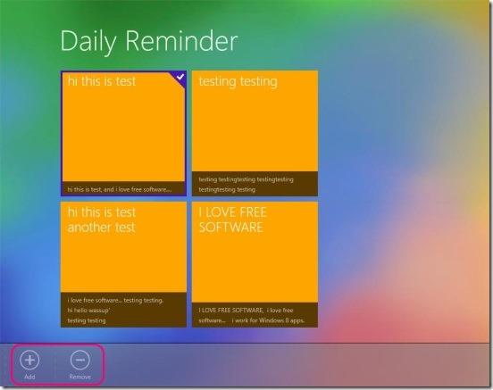 Tiles Reminder - add or remove reminder