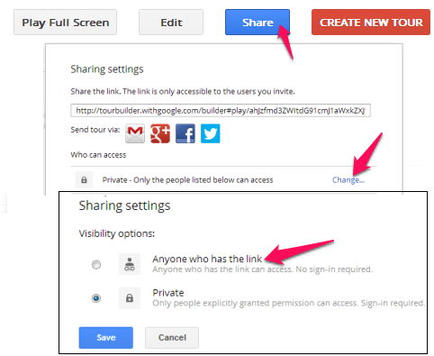 Tour Builder From Google - Tour Builder - Share settings
