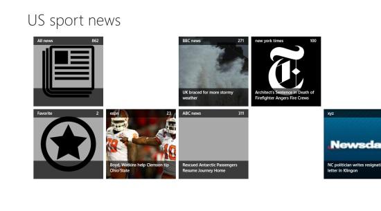 US sport news- main screen