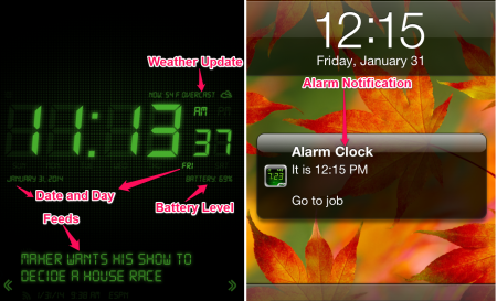 Alarm Clock Main Window and Notification
