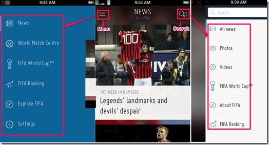 FIFA App Main Screen