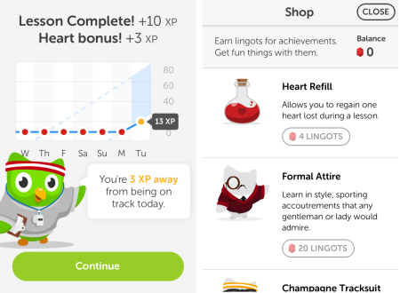 Duolingo results and Shop