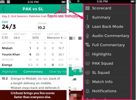 Live Match Options