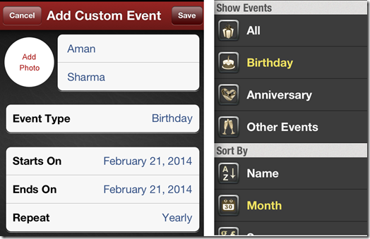 Adding Custom Events and Sorting Options