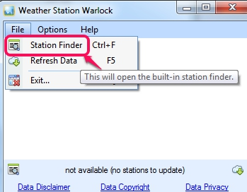 Weather Station Warlock- access station finder option