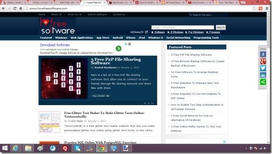 Windows 8 tutorial - captured screenshot of browser