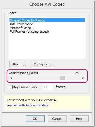 Windows 8 tutorial - choosing codec