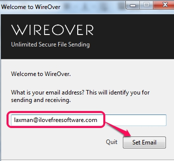 WireOver- set email