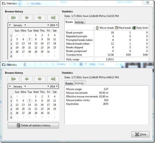 Workrave Portable- statistics of break and activities