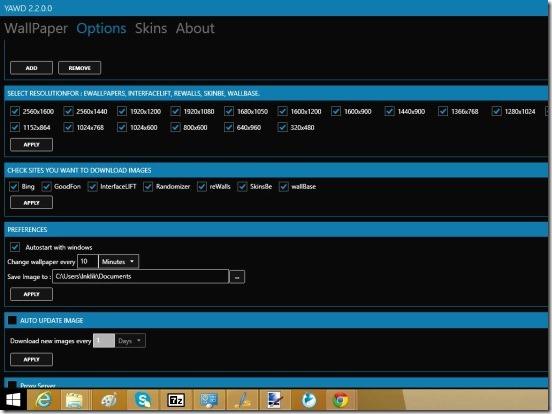 YAWD - chaning download settings using Options toggle