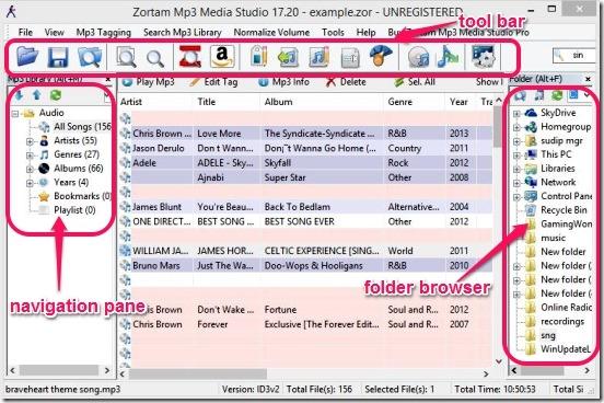 Zortam Mp3 Media Studio - UI
