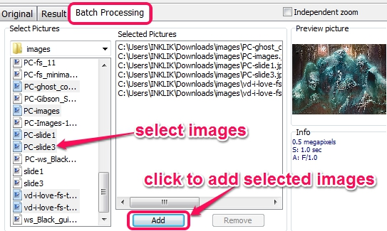 add images for batch processing