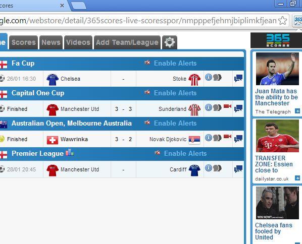 chrome soccer score tracking 365scores