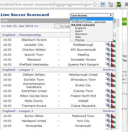 chrome soccer score tracking live soccer scorecard