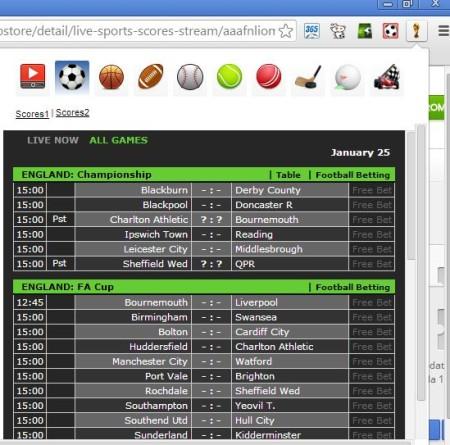chrome soccer score tracking live sports scores