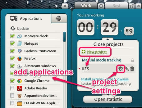 create a project and add applications