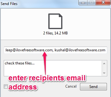 enter recipients email address to send files