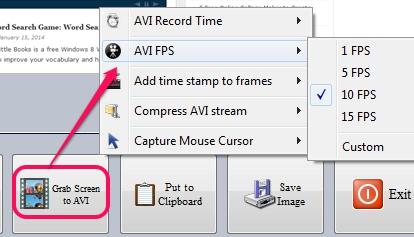 grab screen to avi options