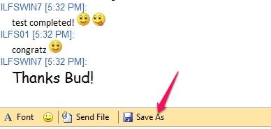 Free LAN Chat application for Windows - Mossawir Lan Messenger - Saving the conversation