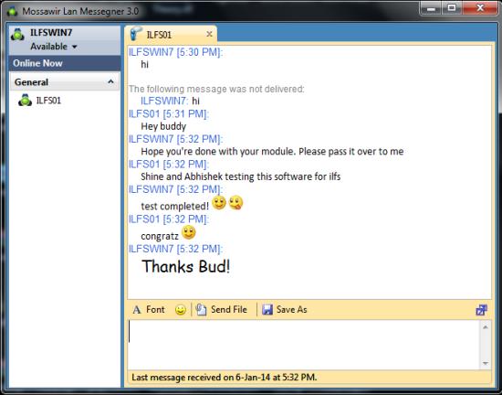 Free LAN Chat application for Windows - Mossawir Lan Messenger