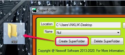 use create SuperFolder button