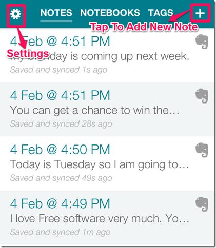 Note Making App Main Window