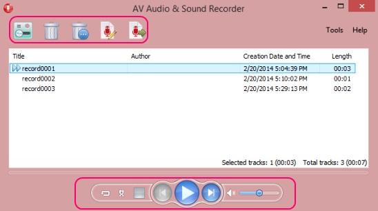 AV Audio & Sound Recorder - record list