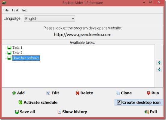 Backup Aider - main window