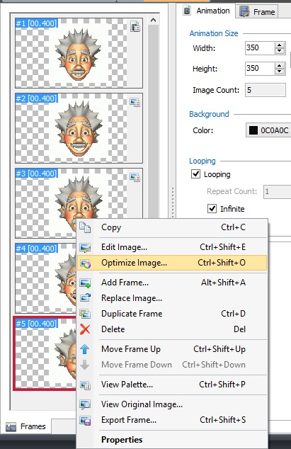 Cyotek Gif Animator - frame context menu