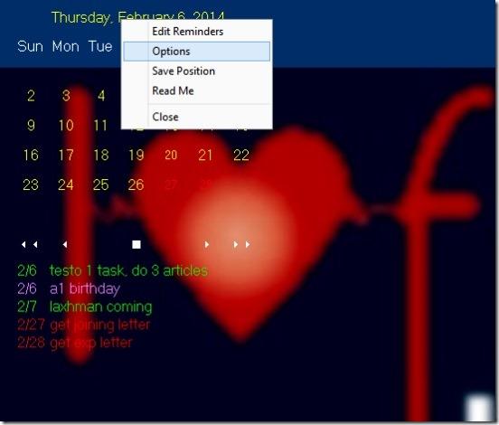 Desktop Calendar - right click context menu