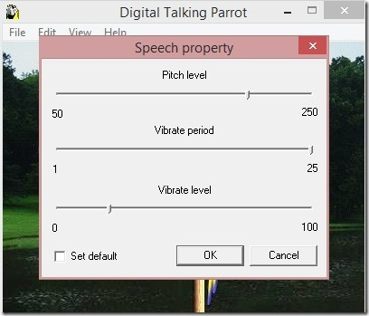Digital Talking Parrot - changing speech sliders