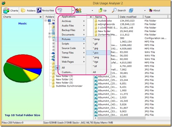 Disk Usage Analyzer - filtering report by file type