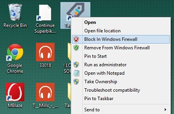 Easy Context Menu - blocking program through Windows firewall