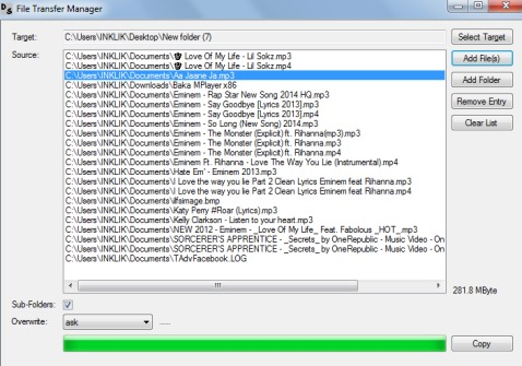 File Transfer Manager- interface